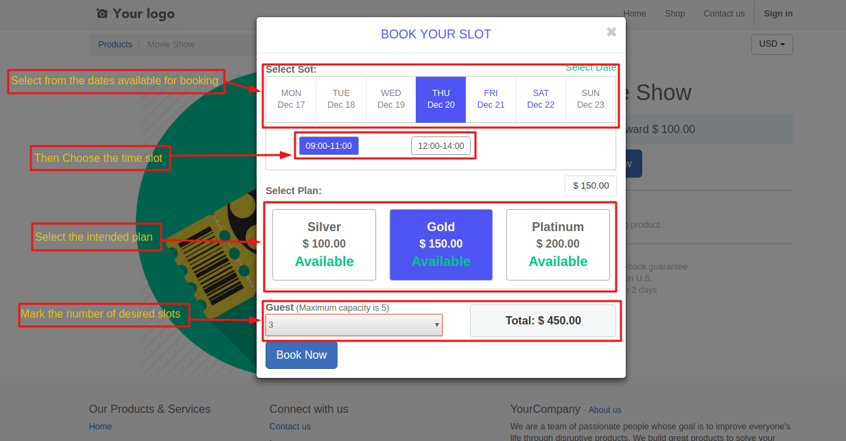 Booking a slot on Odoo website 2