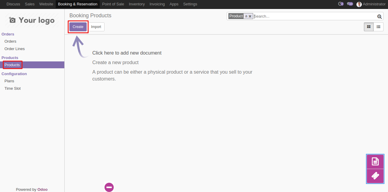 Create Booking Product in Odoo 1