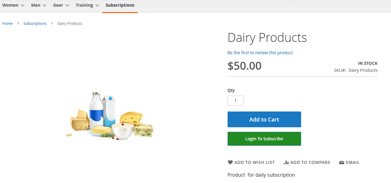 Magento2 Recurring Payment Subscription_dairy_product_frontend