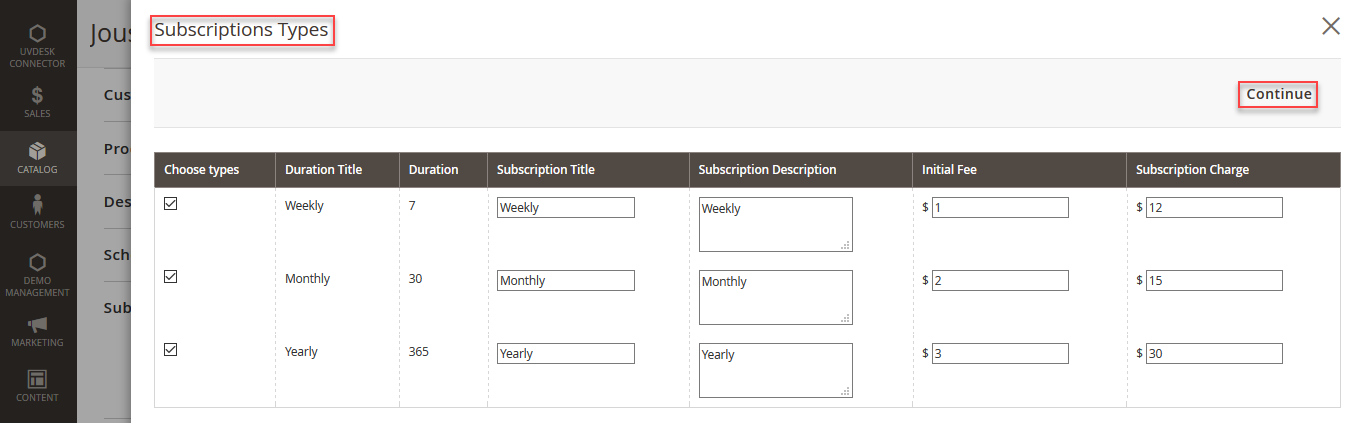 Magento2 Recurring Payment Subscription - select subscription types