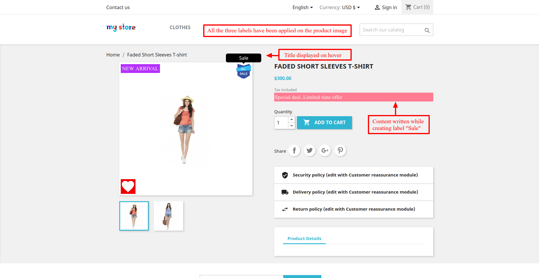view of labels on product page