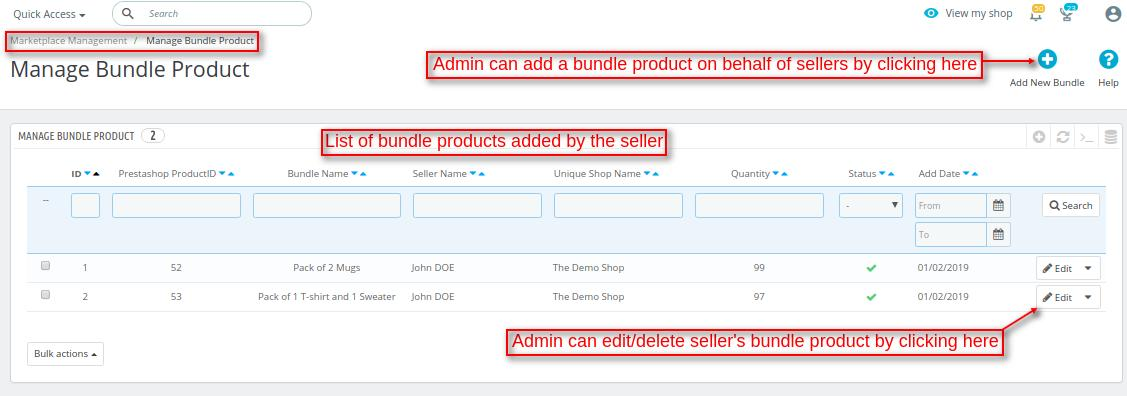 manage bundle product