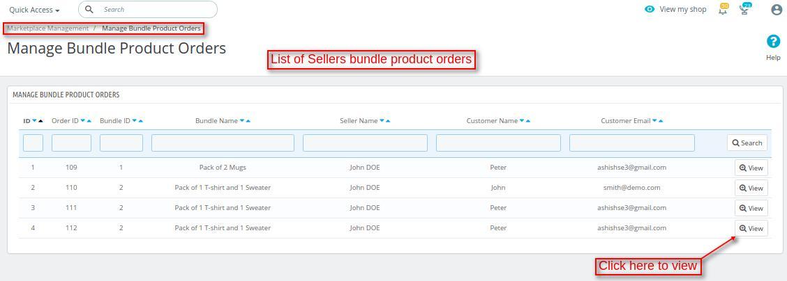 sellers bundle product orders