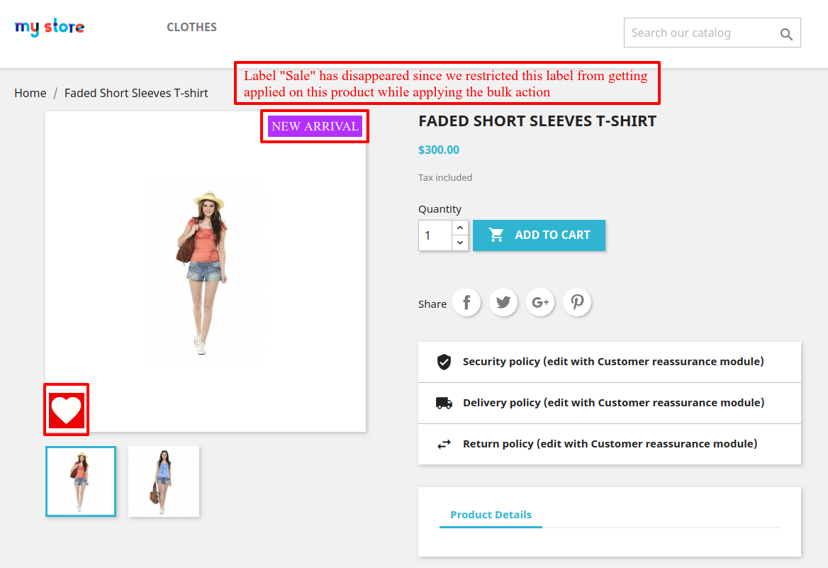 View of product page after bulk action is applied