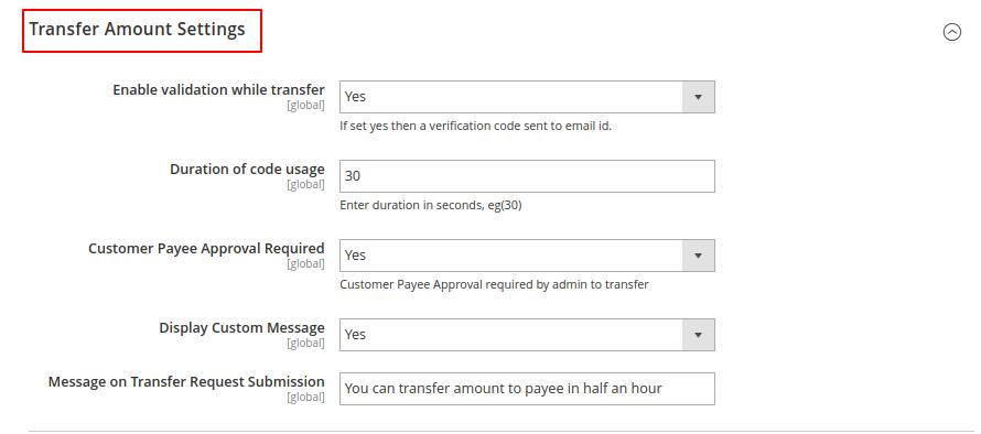 transfer amount setting