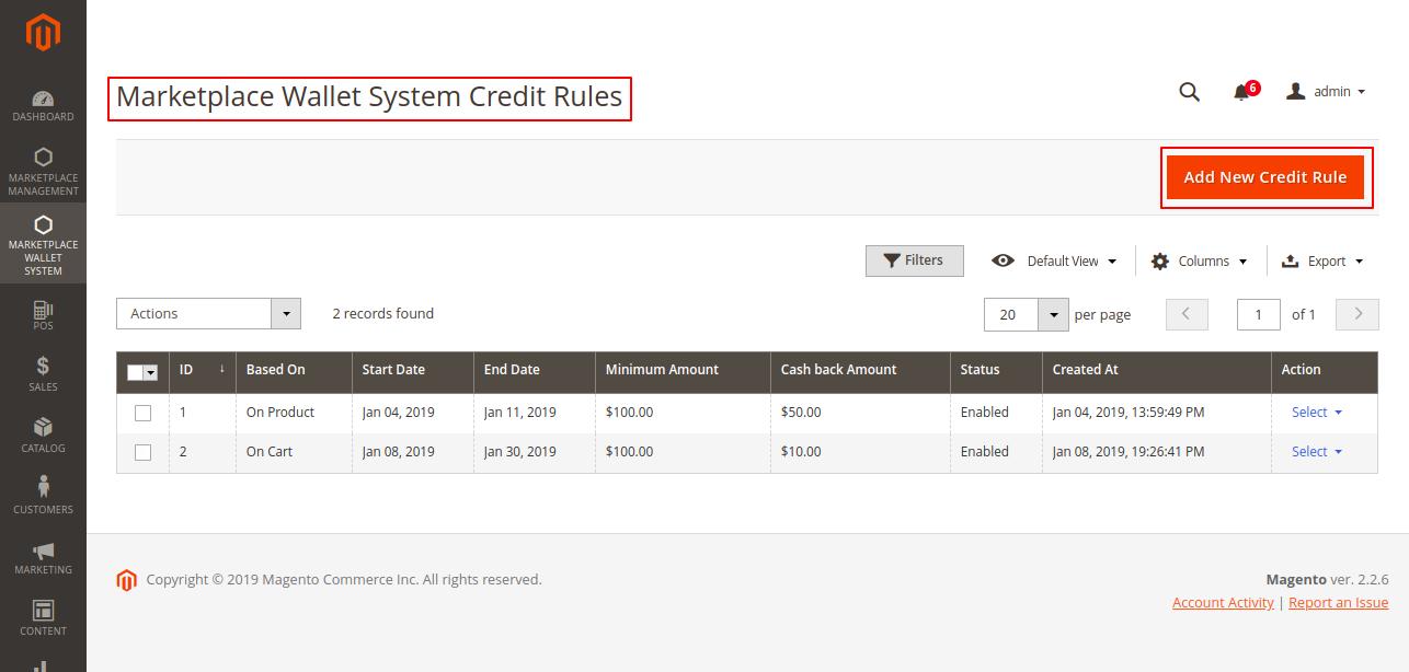 add credit rule