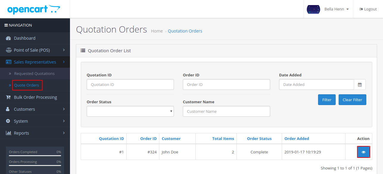 quote order