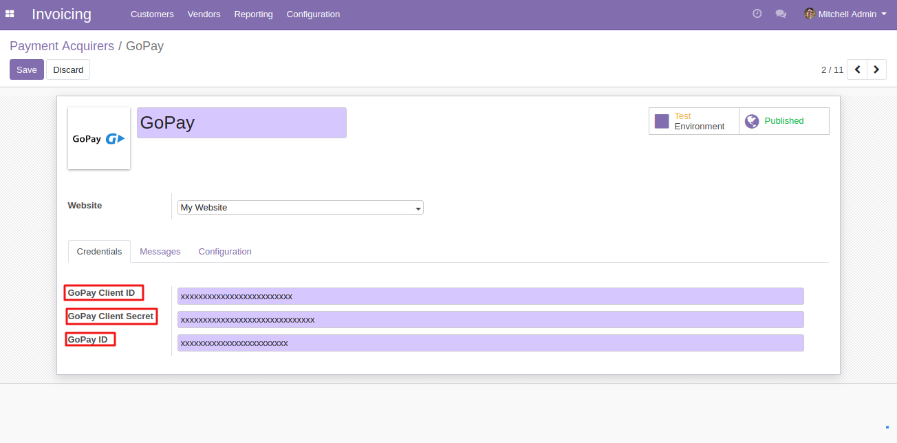 Configuring GoPay In Odoo 2