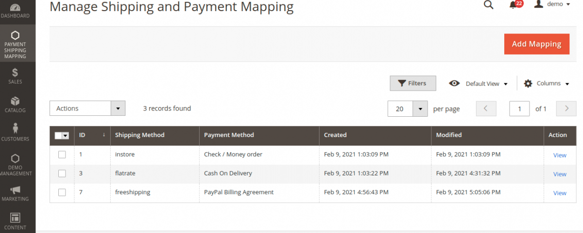 Webkul-Magento-2-Payment-&-Shipping-Restriction-Manage Shipping and Payment-Mapping-demo22