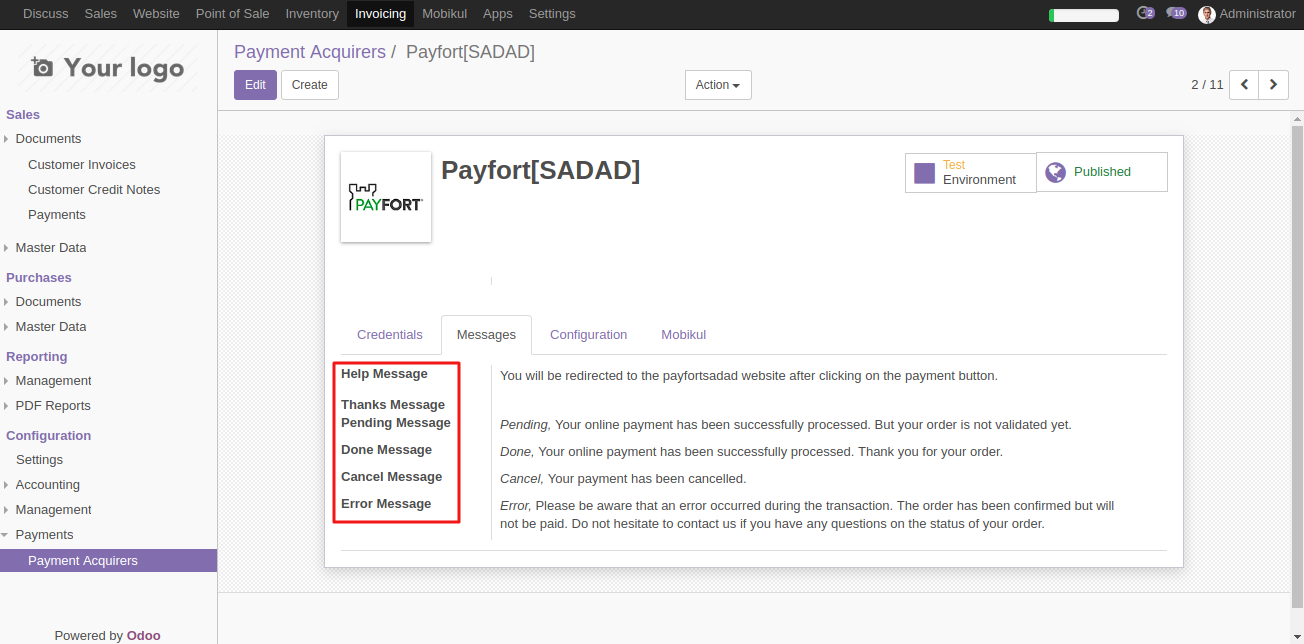 Odoo Payfort Sadad Payment Acquirer | Use Payfort SADAD in Odoo