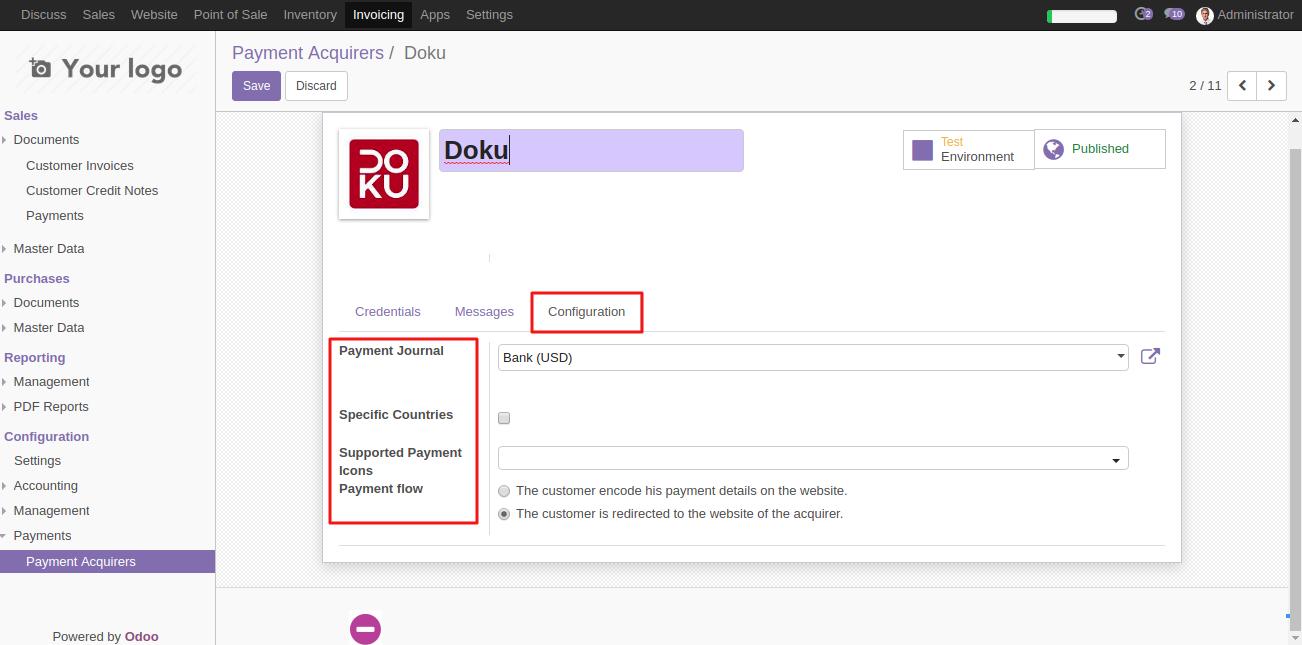 Configuring Doku in Odoo 4