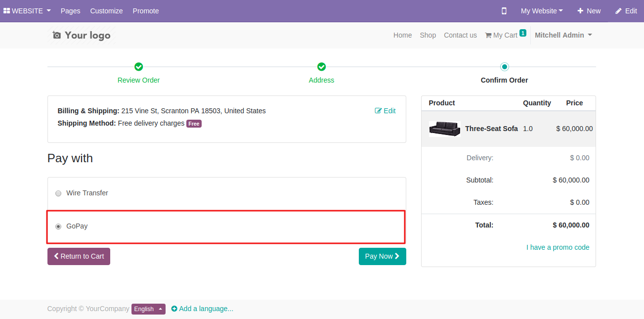 Using GoPay Payment On Odoo Website 2