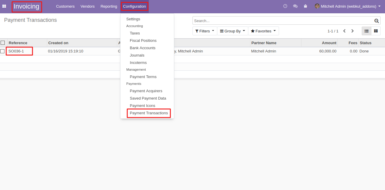 viewing GoPay Transactions in Odoo 1