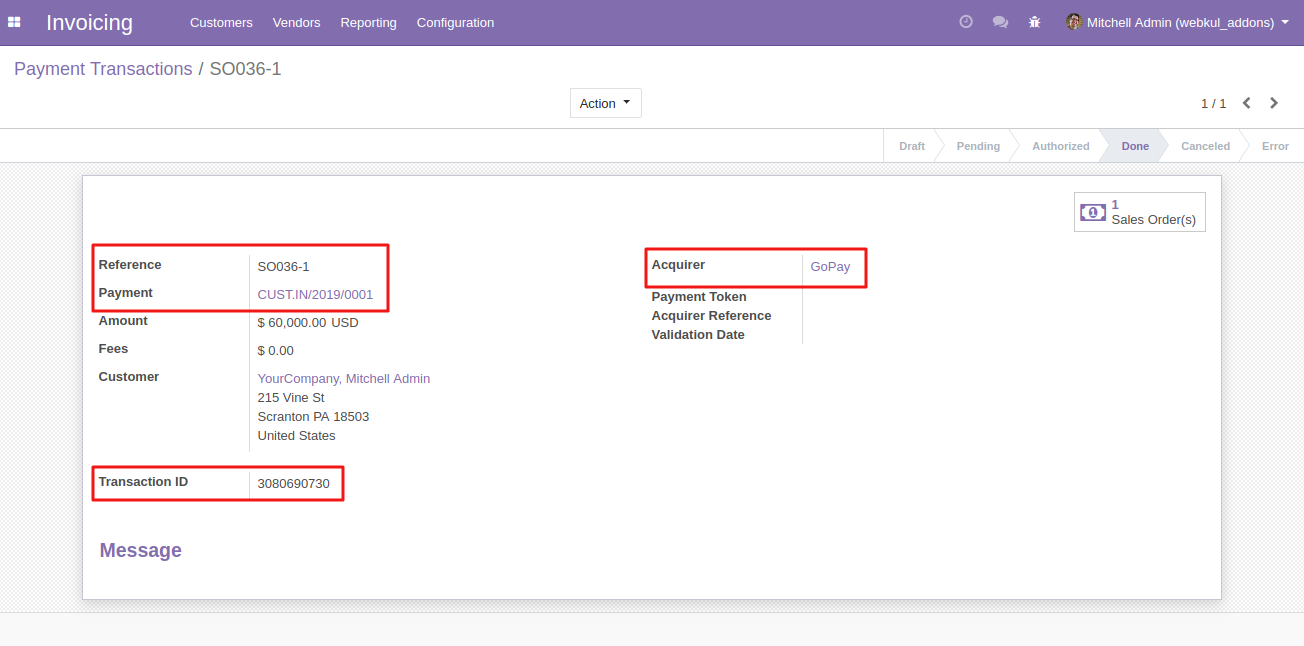 viewing GoPay Transactions in Odoo 2