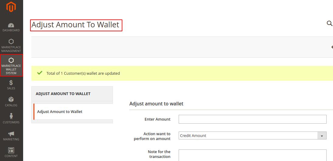 adjust amount to wallet