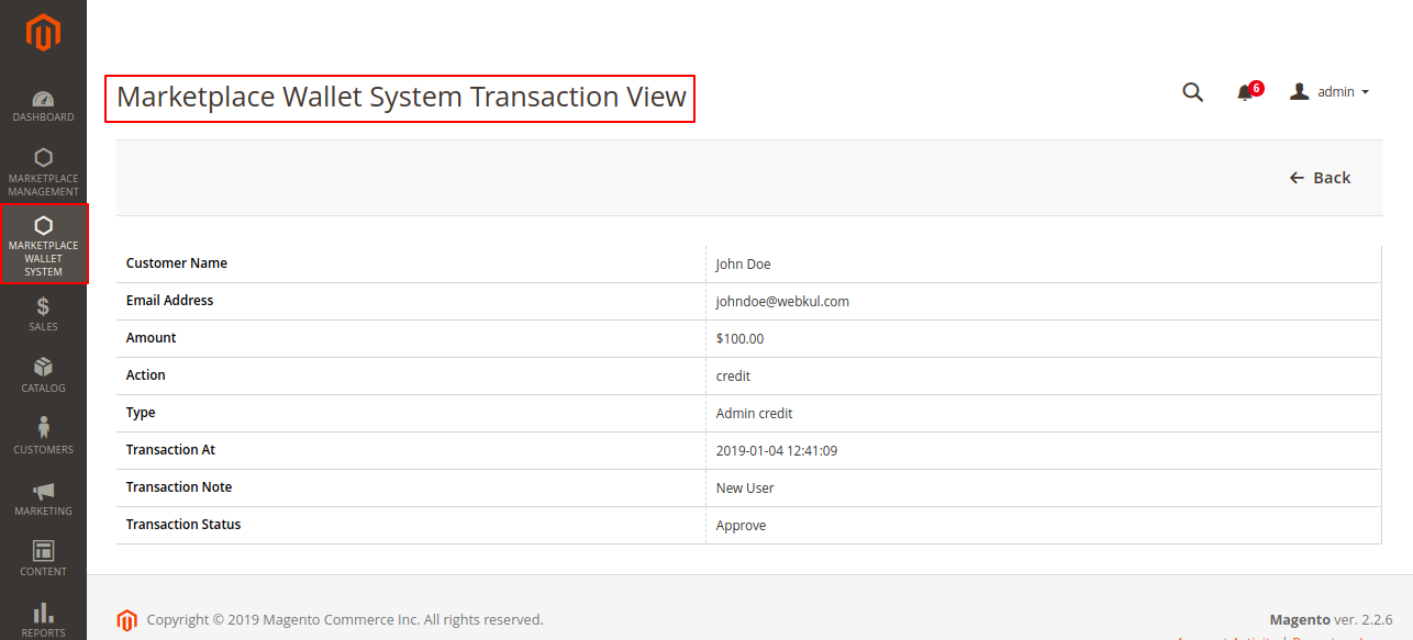 Magento 2 Marketplace Wallet transactional view