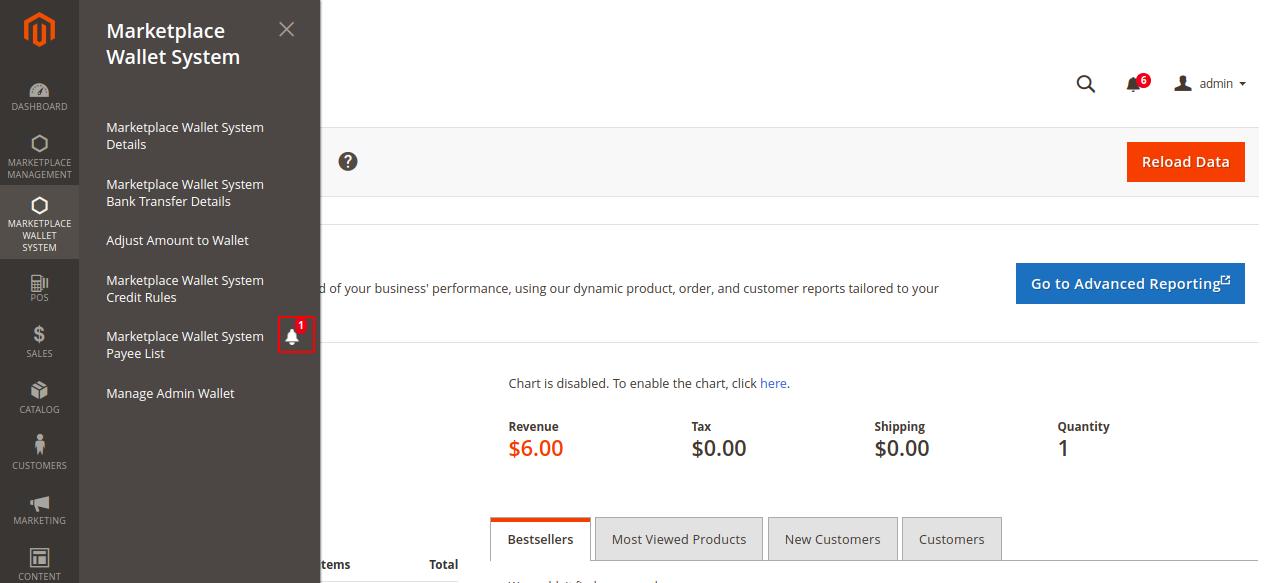 Magento 2 Marketplace Wallet notifications