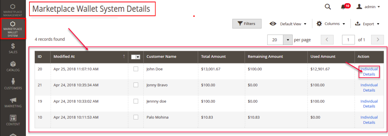 Magento 2 Marketplace Wallet details