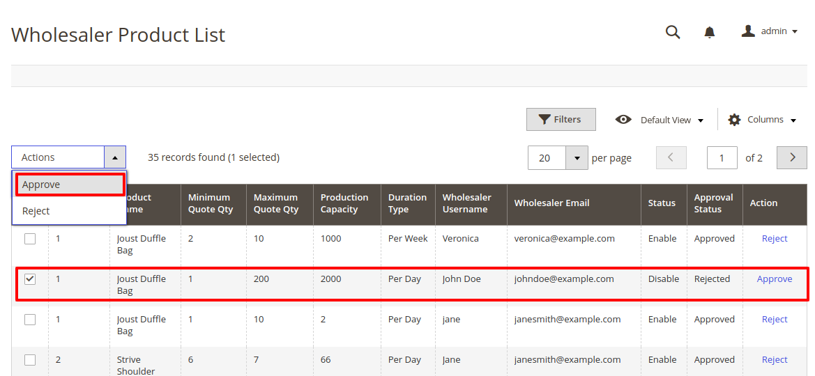 Magento 2 purchase order product_list_approval