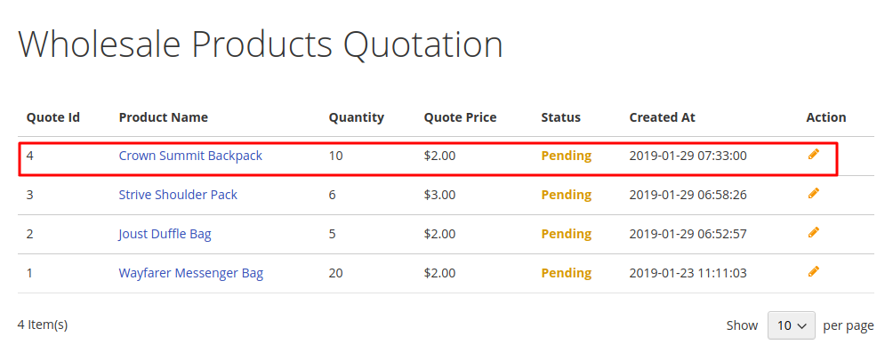 Magento 2 purchase order seller_product_quotation