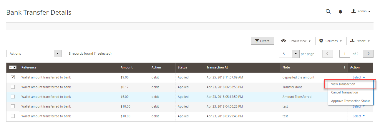 Magento 2 Marketplace Wallet view transaction