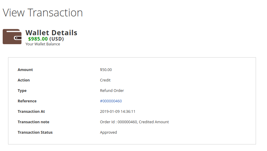 Magento 2 Marketplace Wallet transaction details