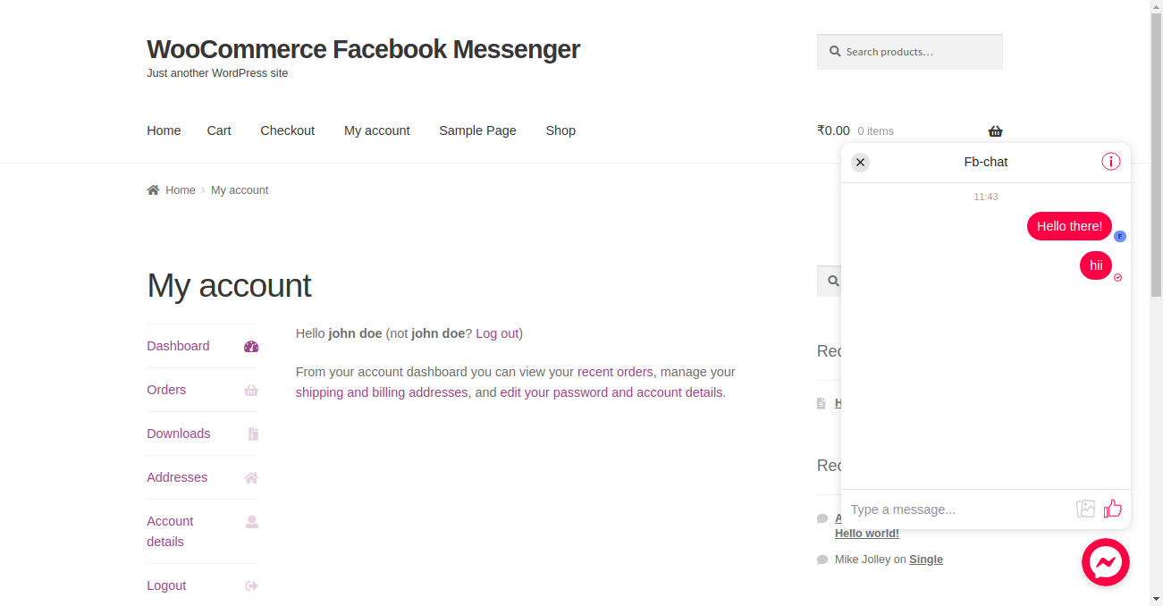 Facebook Messenger Chat for WooCommerce