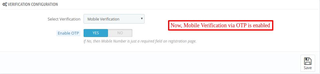 Mobile verification OTP enabled