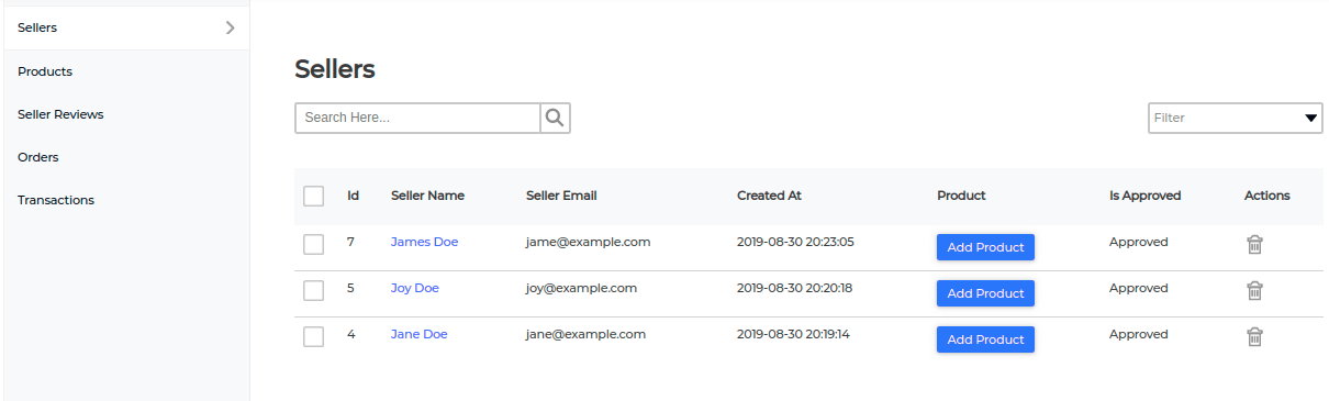 product assigned to seller