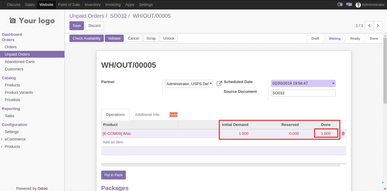 generating USPS shipment in Odoo 3