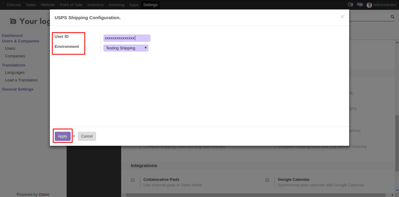 Intergrating USPS shipping with Odoo 2