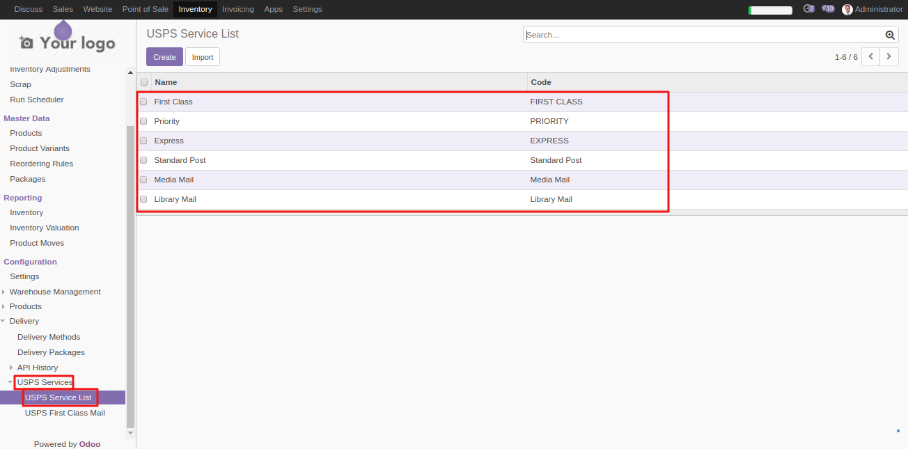 Intergrating USPS shipping with Odoo 3