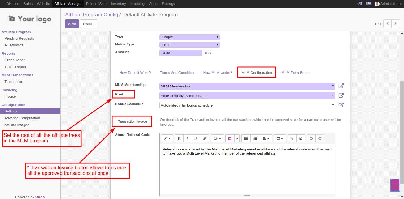 Configuring MLM module in Odoo 3