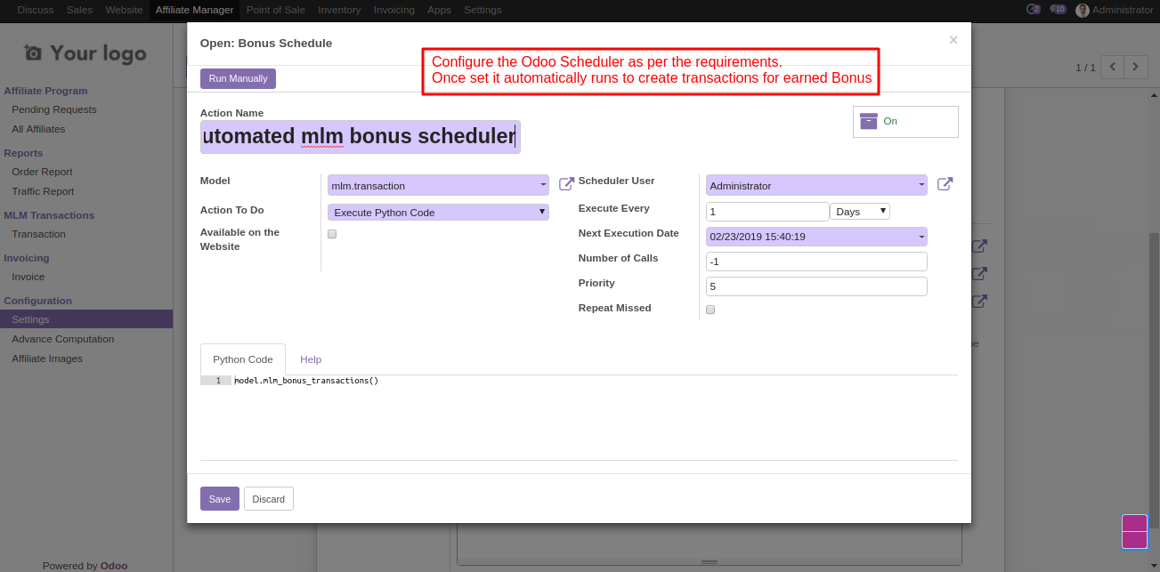 setting odoo scheduler for MLM 2