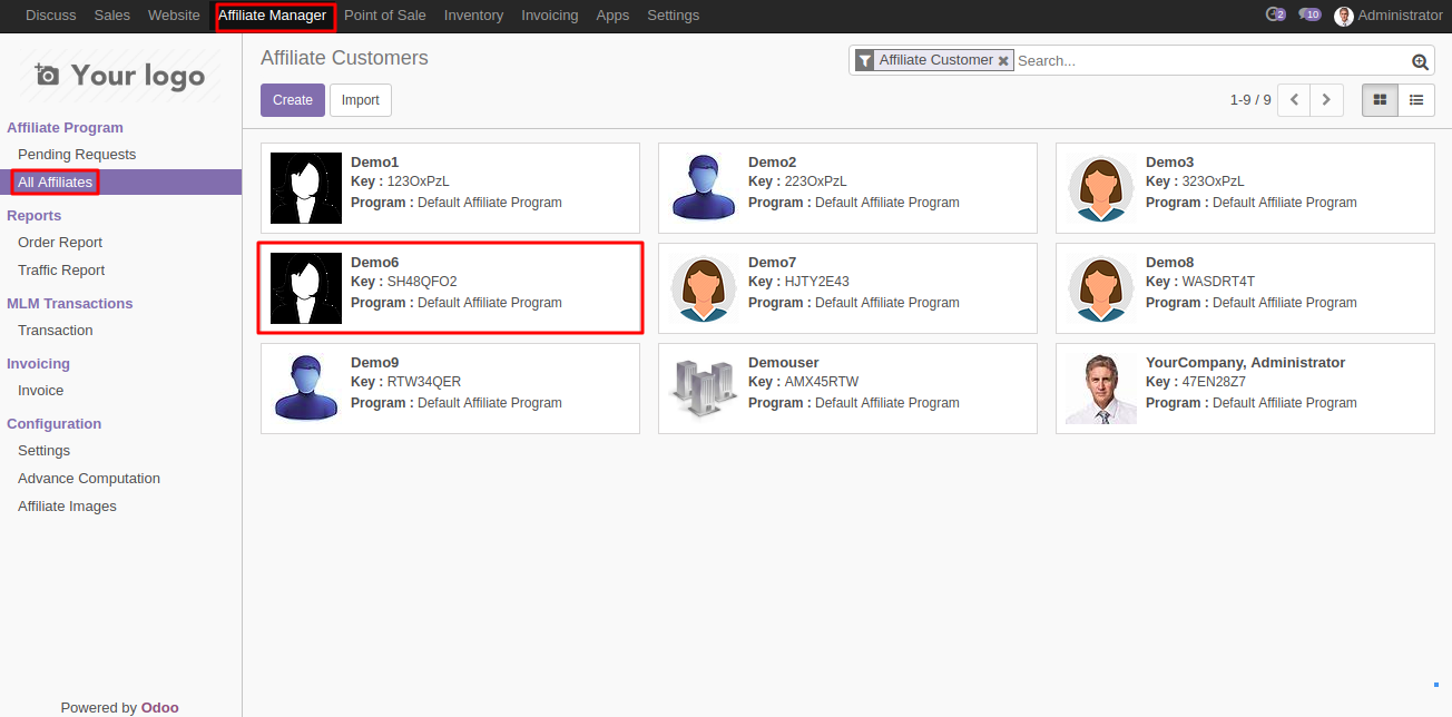 MLM affiliate Information In Odoo 1