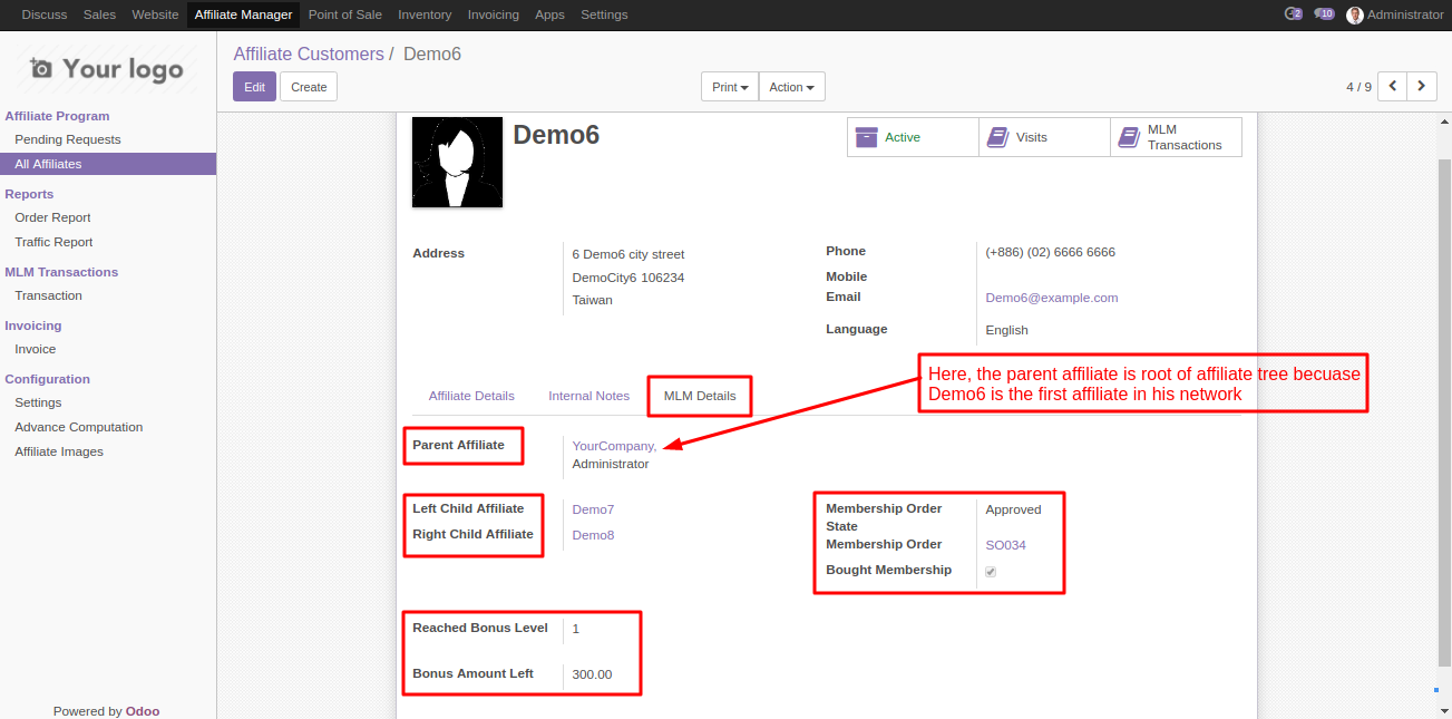 MLM affiliate Information In Odoo 2