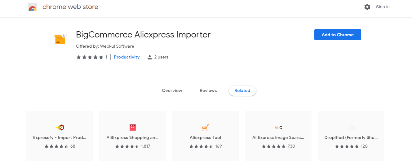 add-the-chrome-extension-from-store- BigCommerce-AliExpress-dropshipping