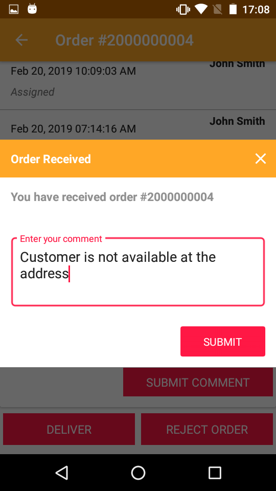 reason to reject order