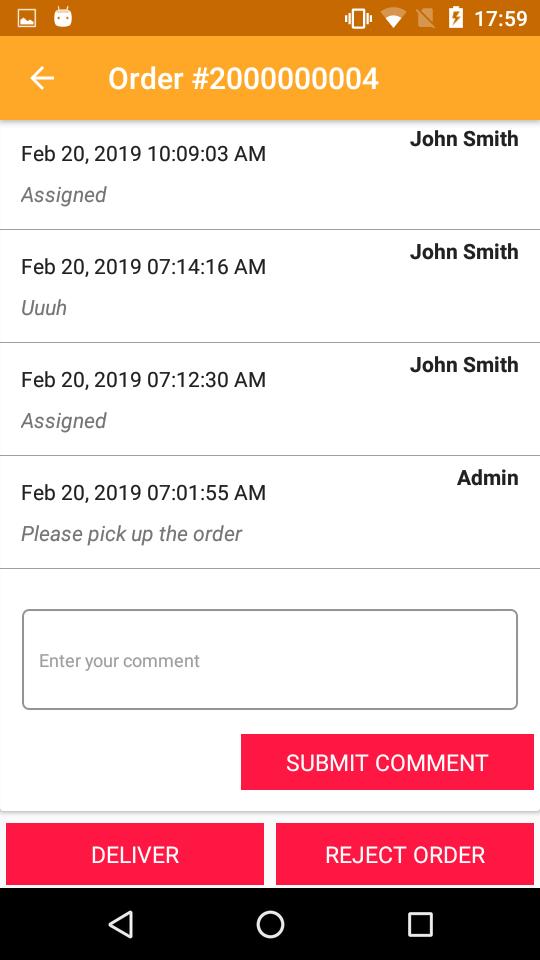 deliver or reject order