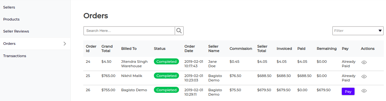 laravel marketplace order list