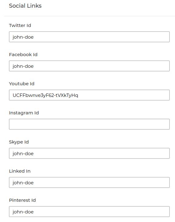 laravel marketplace social links