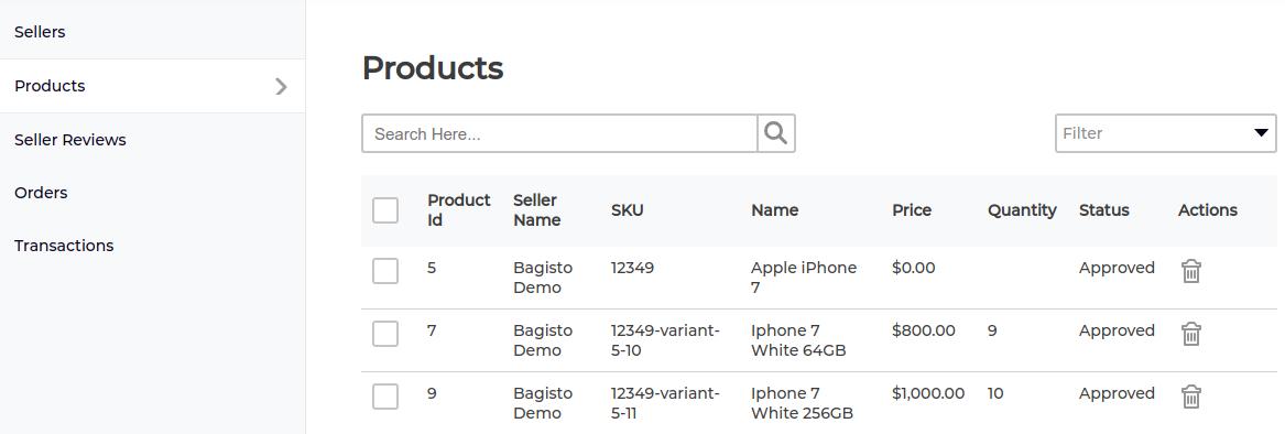 marketplace product list