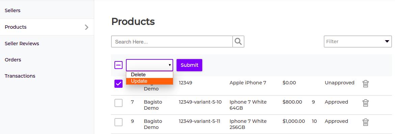 marketplace product status update