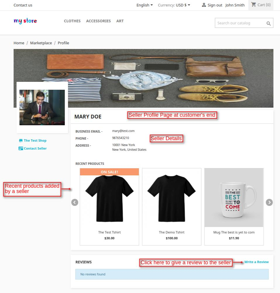 seller profile page