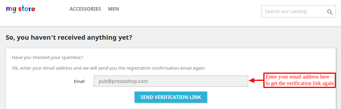 enter email to resend link