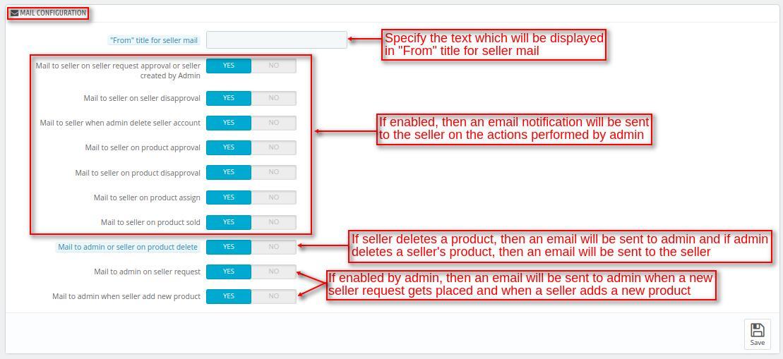 advnaced marketplace email configuration