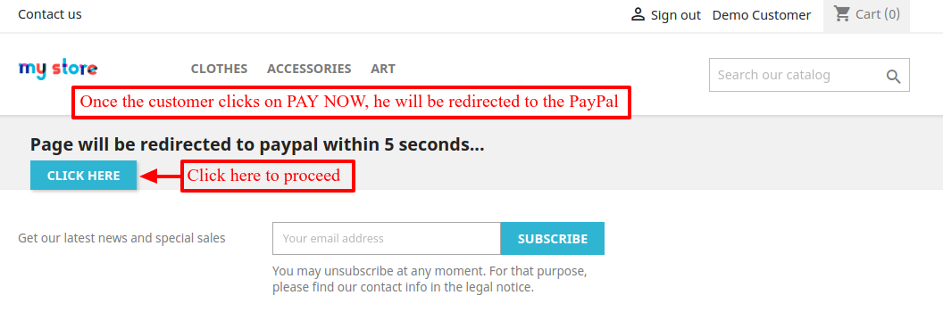 redirecting to paypal