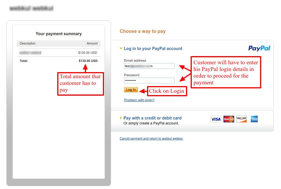 enter PayPal login details