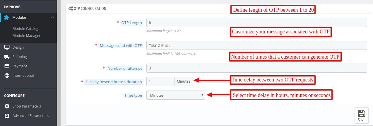 OTP settings