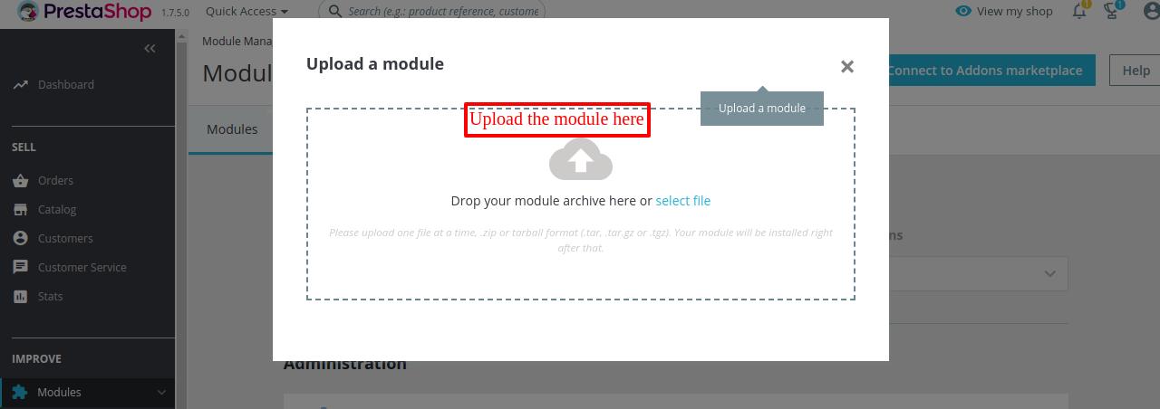 drop or select the Prestashop Front Office Translator module file